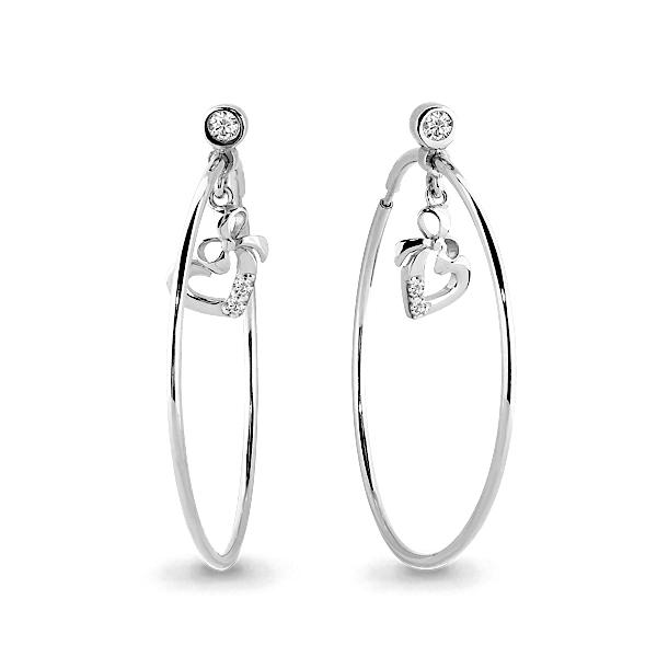 Серебряные серьги-кольца с фианитом AQUAMARINE (#676007)
