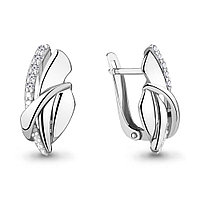Серебряные серьги-классические с фианитом AQUAMARINE (#703824)