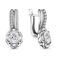 Серебряные Серьги-подвески с фианитом AQUAMARINE (#714907)