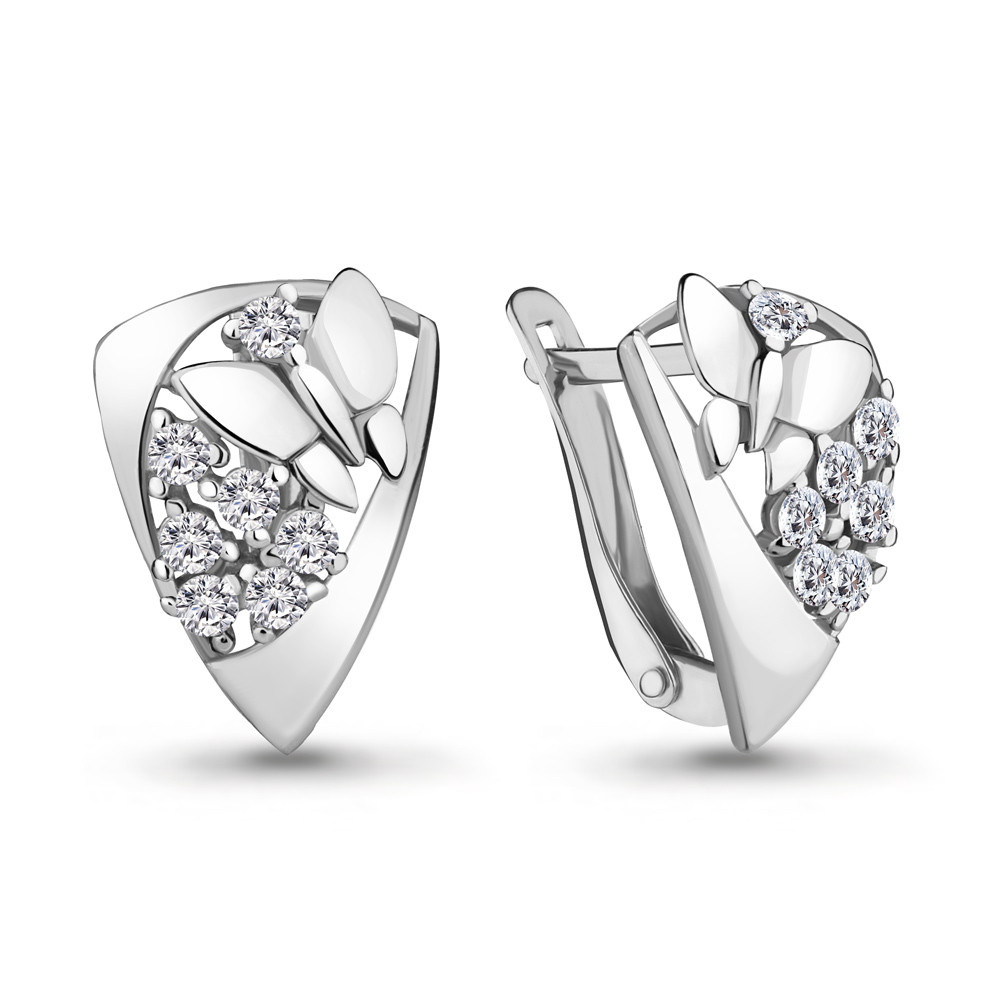 Серебряные серьги-классические с фианитом AQUAMARINE (#701322)