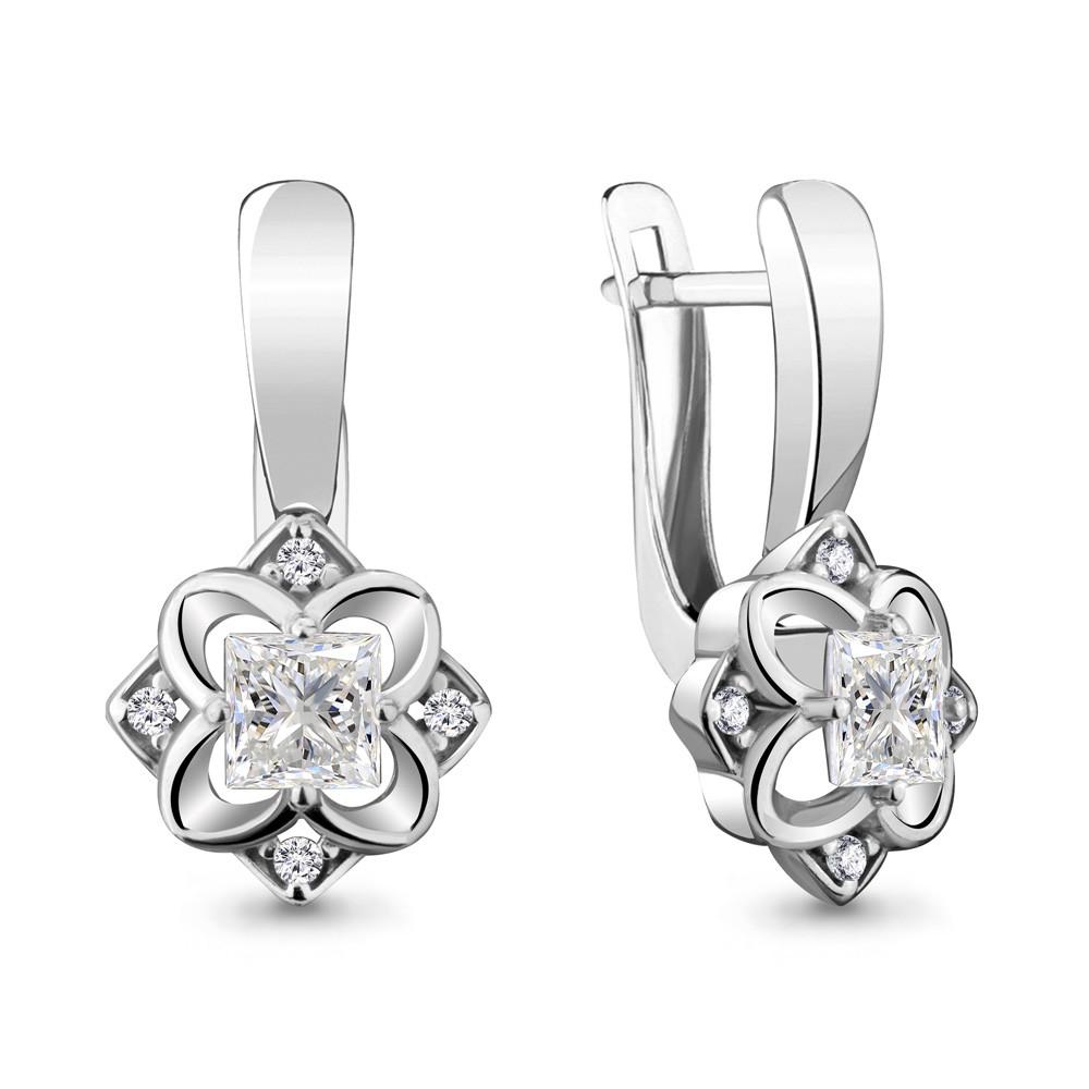 Серебряные Серьги-подвески с фианитом AQUAMARINE (#715432)