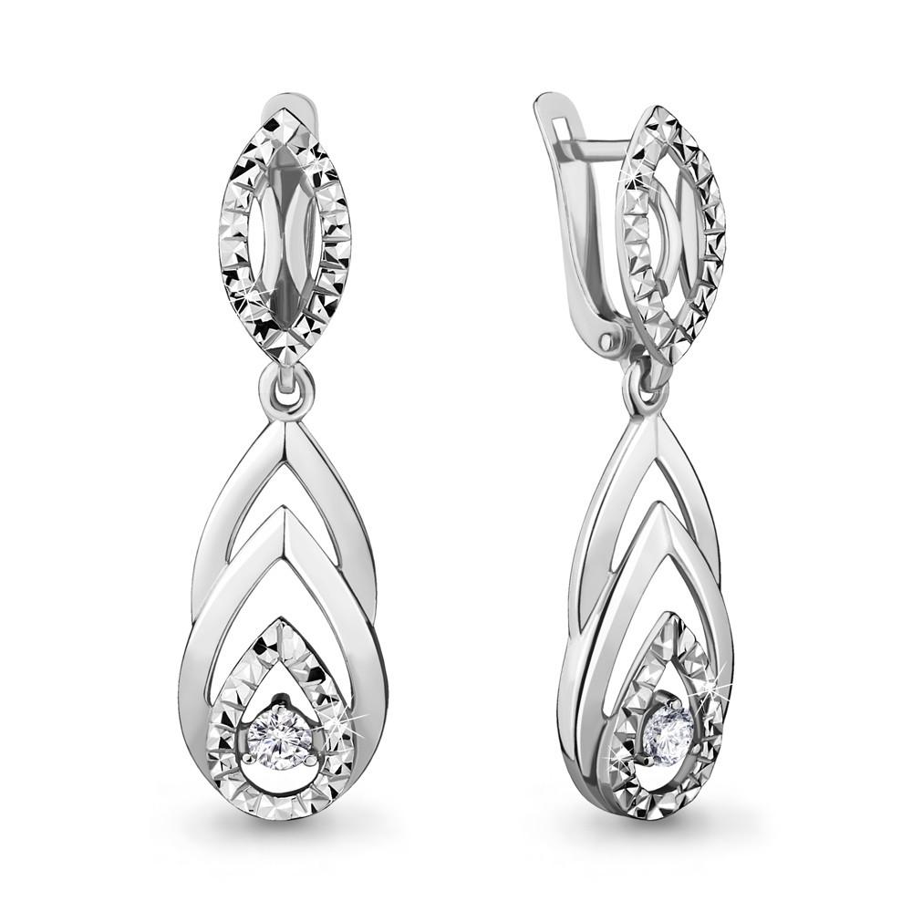 Серебряные Серьги-подвески с фианитом AQUAMARINE (#706479)