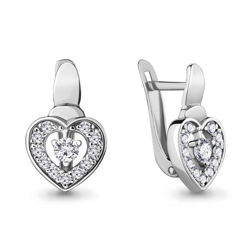 Серебряные серьги-классические с фианитом AQUAMARINE (#705245)