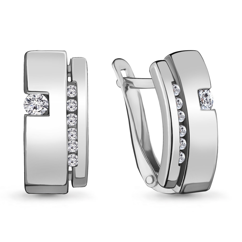 Серебряные серьги-классические с фианитом AQUAMARINE (#706476)