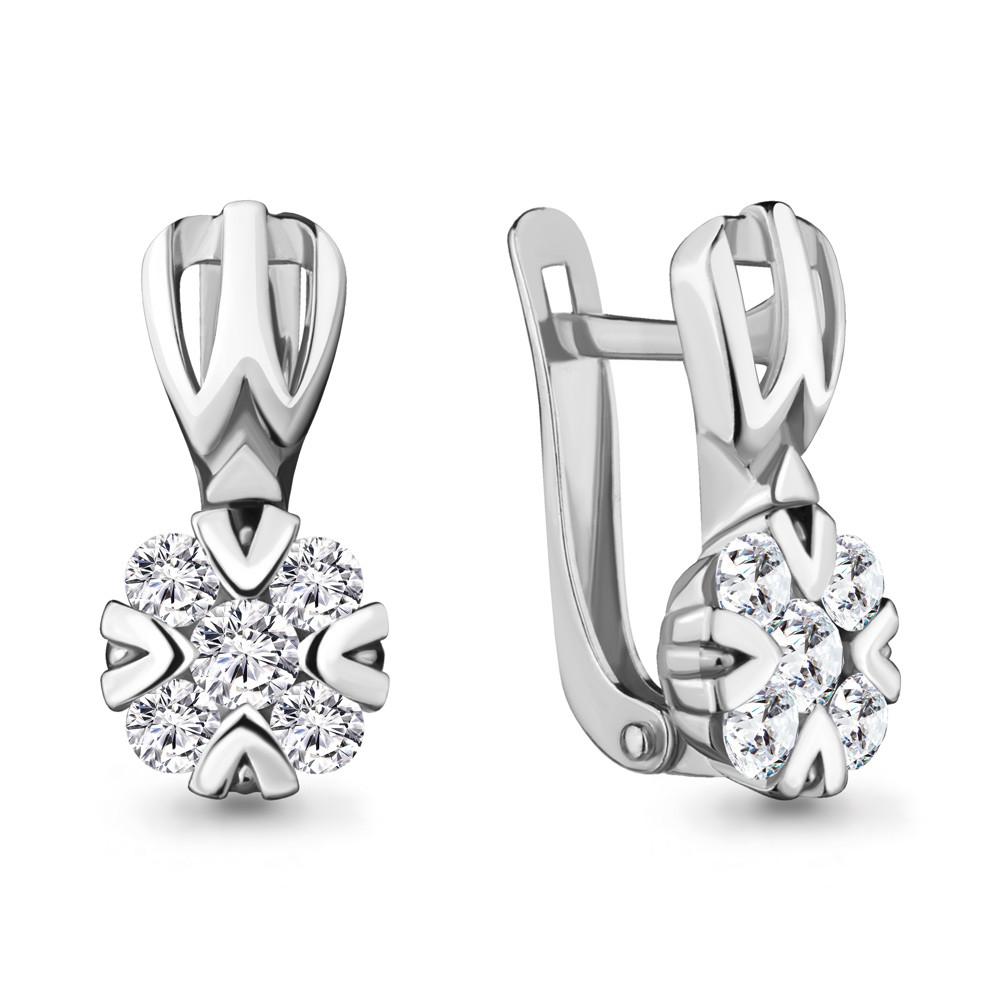 Серебряные серьги-классические с фианитом AQUAMARINE (#711786)