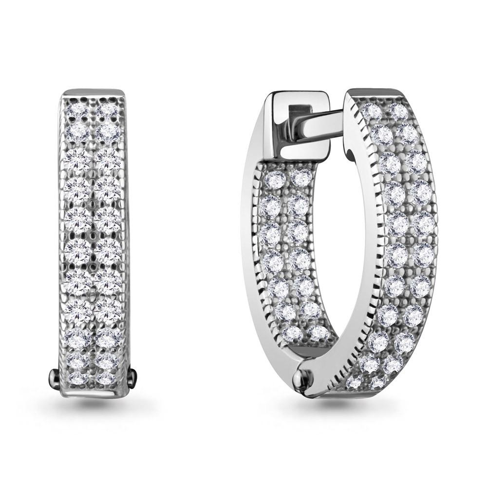 Серебряные Серьги-Кольца с фианитом AQUAMARINE (#716852)