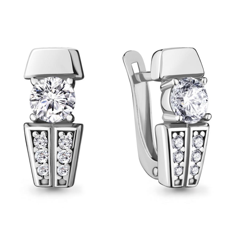Серебряные серьги-классические с фианитом AQUAMARINE (#711790)