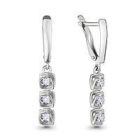 Серебряные серьги-протяжки с фианитом AQUAMARINE (#683161)