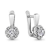 Серебряные серьги-классические с фианитом AQUAMARINE (#706452)