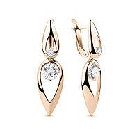 Серебряные Серьги-подвески с фианитом AQUAMARINE (#654693)