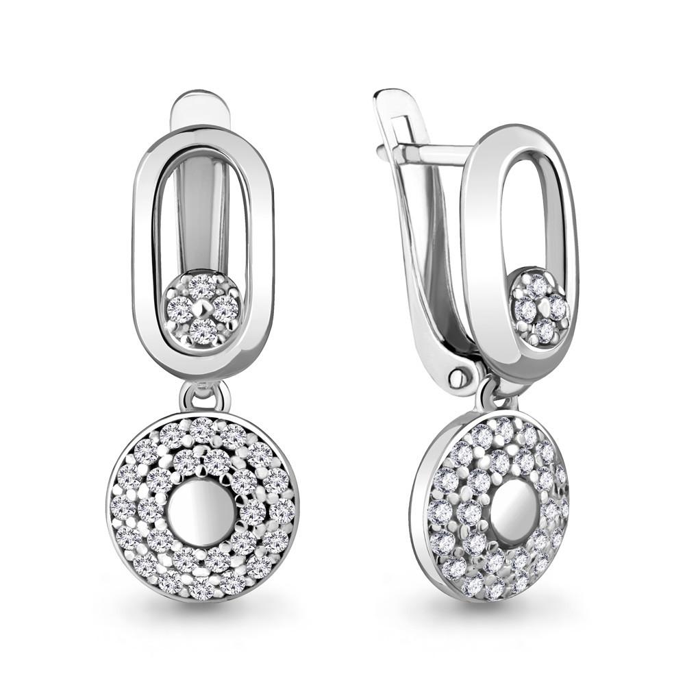 Серебряные Серьги-подвески с фианитом AQUAMARINE (#711905)