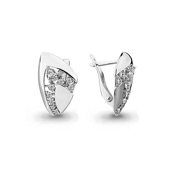 Серебряные серьги-классические с фианитом AQUAMARINE (#705709)