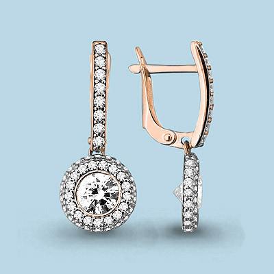 Серебряные Серьги-подвески с фианитом AQUAMARINE (#642109)