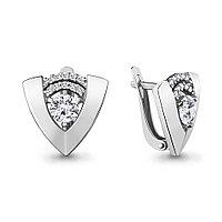 Серебряные серьги-классические с фианитом AQUAMARINE (#708473)