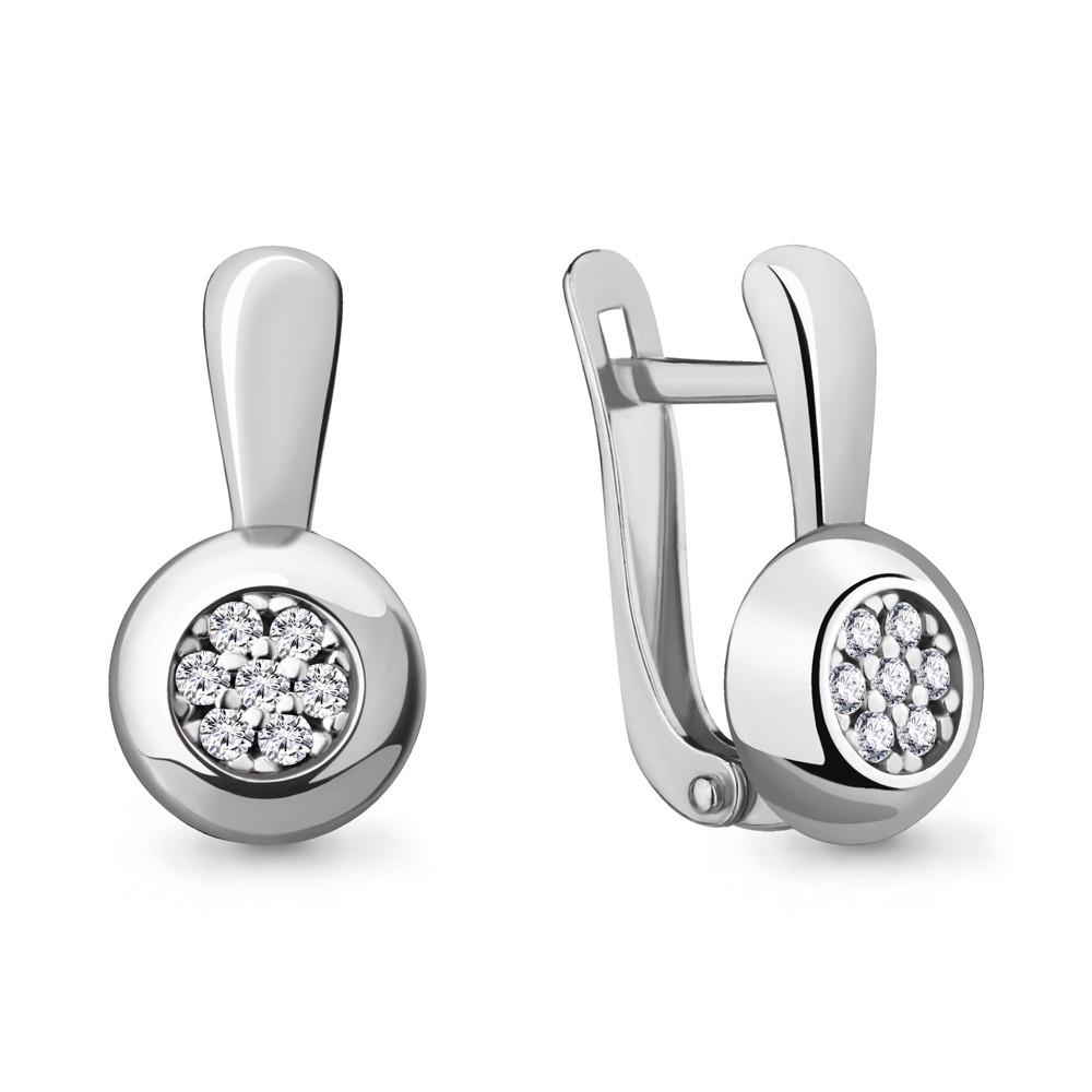 Серебряные серьги-классические с фианитом AQUAMARINE (#705248)