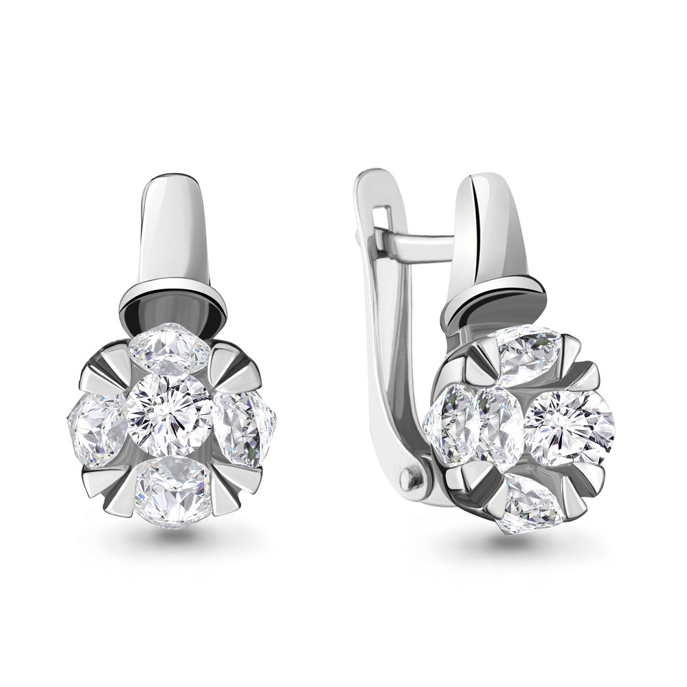 Серебряные серьги-классические с фианитом AQUAMARINE (#711878)