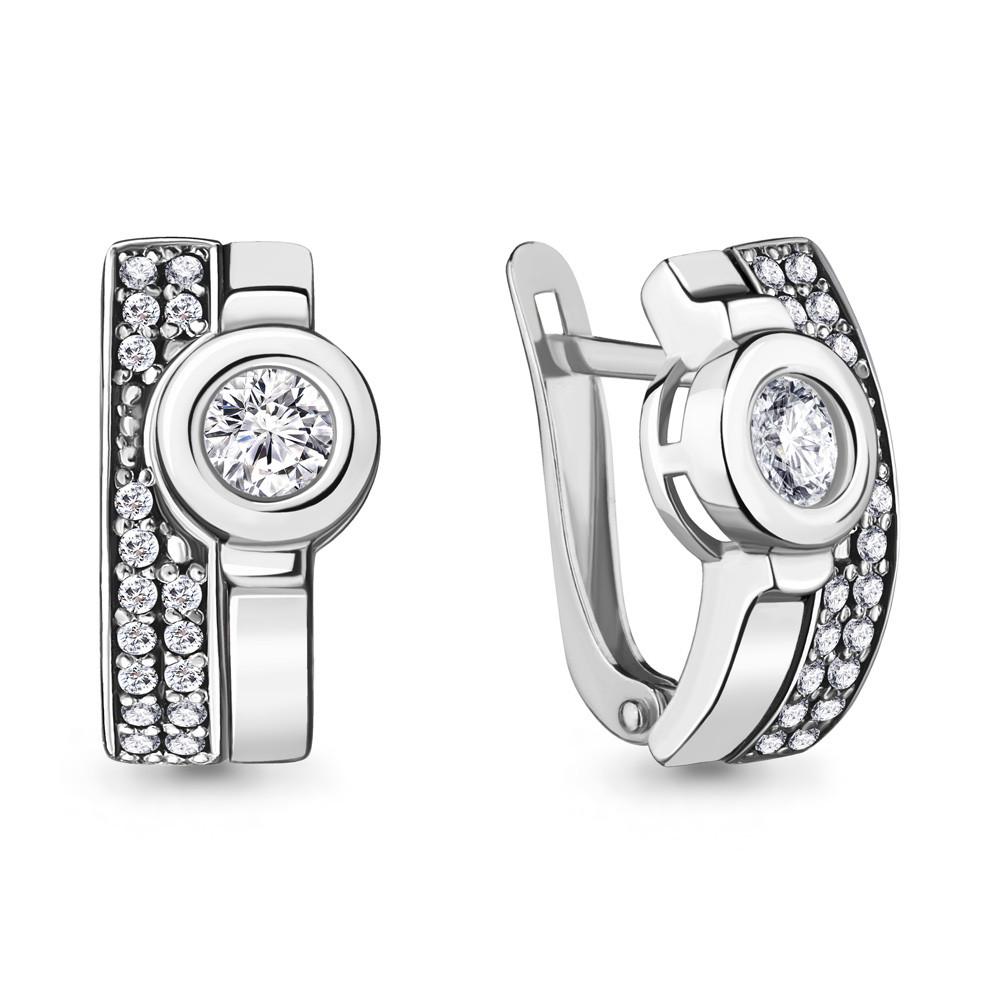 Серебряные серьги-классические с фианитом AQUAMARINE (#717244)