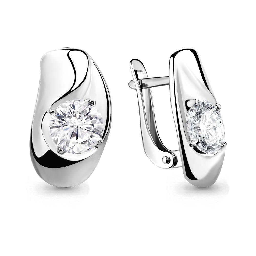 Серебряные серьги-классические с фианитом AQUAMARINE (#708706)