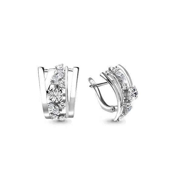 Серебряные серьги-классические с фианитом AQUAMARINE (#708710)