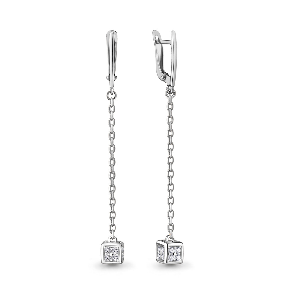 Серебряные серьги-протяжки с фианитом AQUAMARINE (#704790)