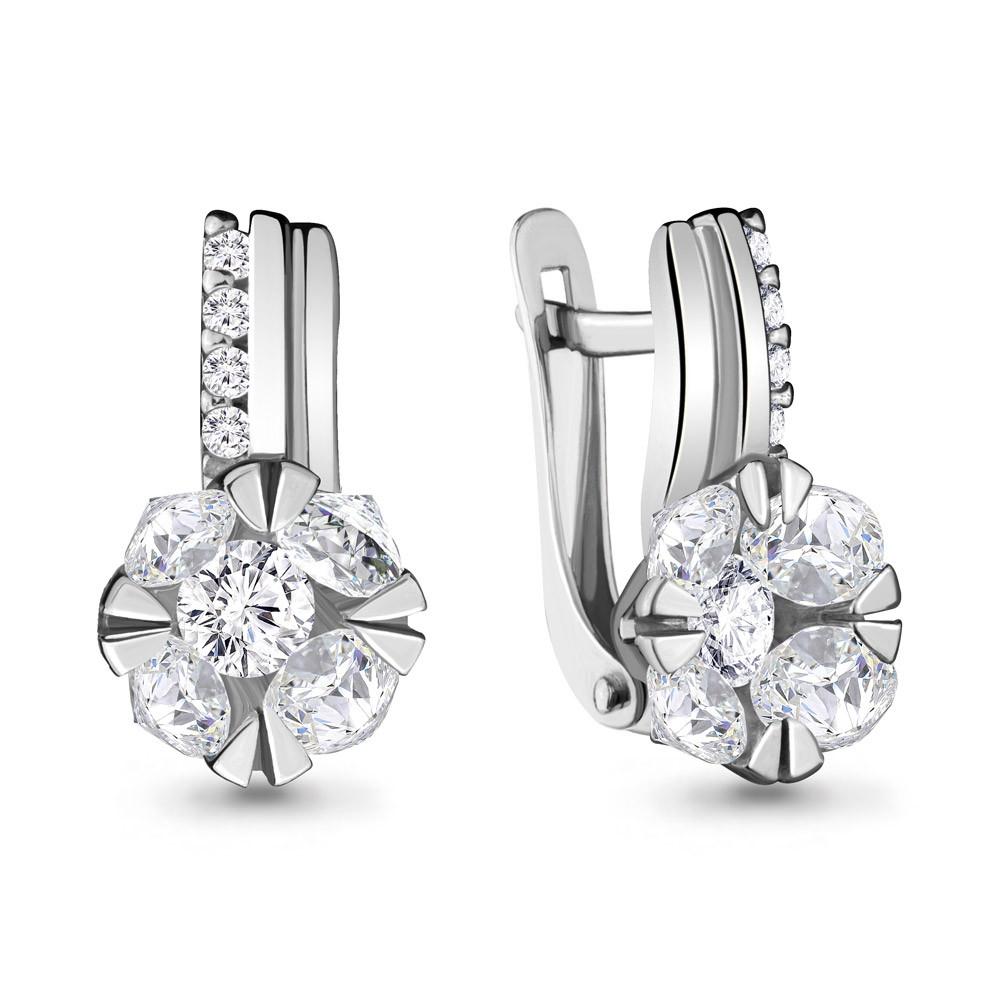 Серебряные серьги-классические с фианитом AQUAMARINE (#711879)