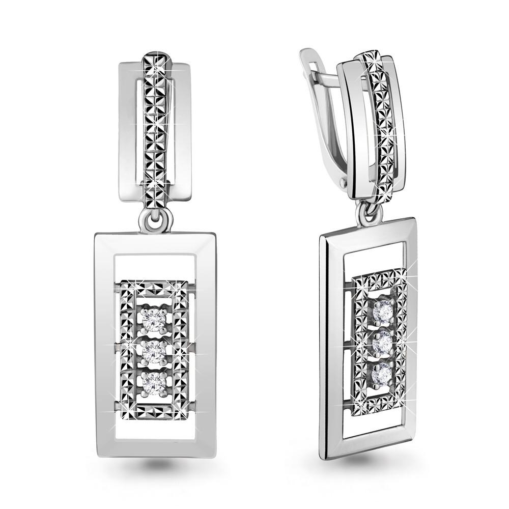 Серебряные Серьги-подвески с фианитом AQUAMARINE (#708540)
