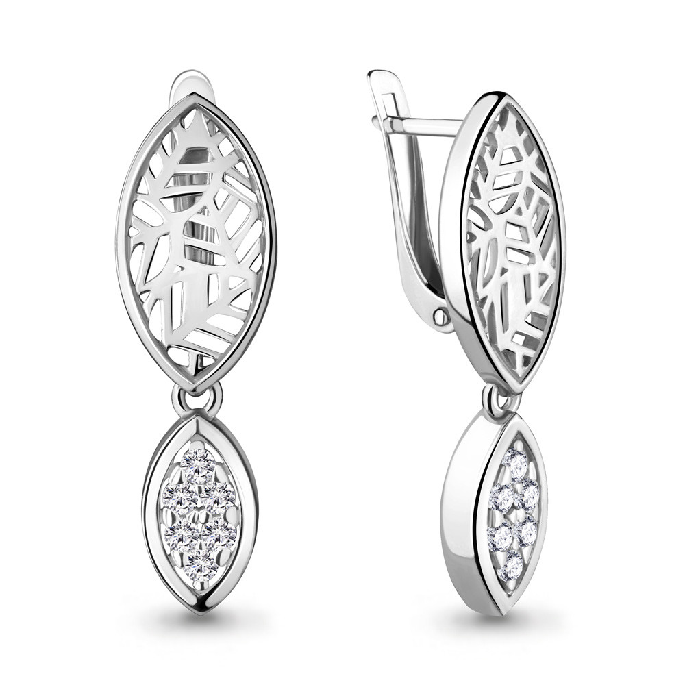 Серебряные Серьги-подвески с фианитом AQUAMARINE (#704772)