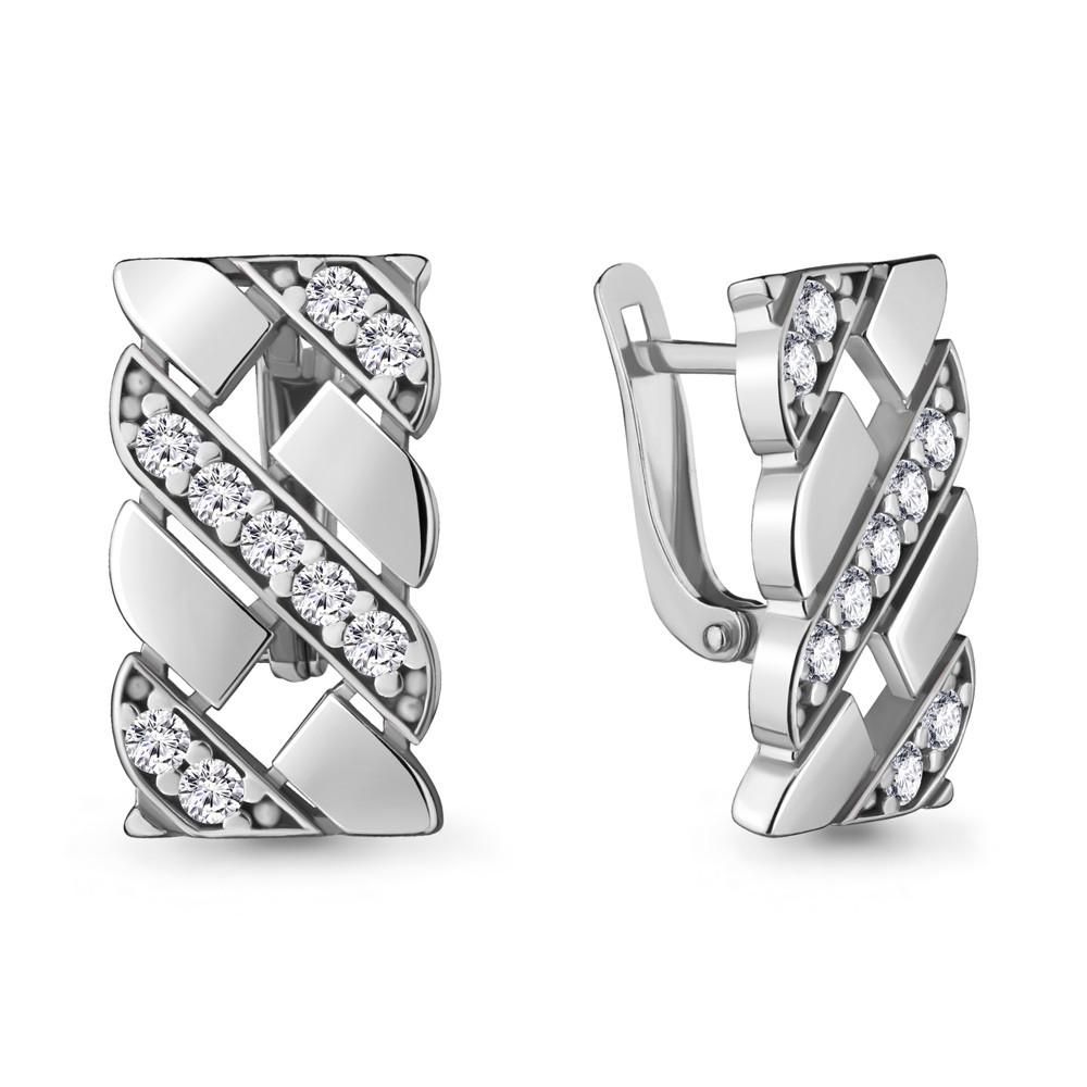 Серебряные серьги-классические с фианитом AQUAMARINE (#708547)