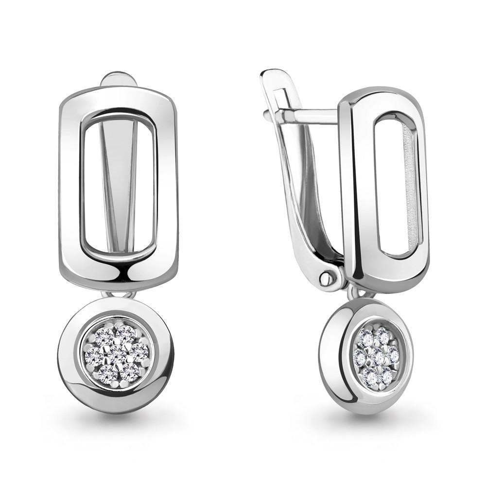 Серебряные Серьги-подвески с фианитом AQUAMARINE (#711908)