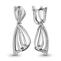 Серебряные Серьги-подвески с фианитом AQUAMARINE (#654680)