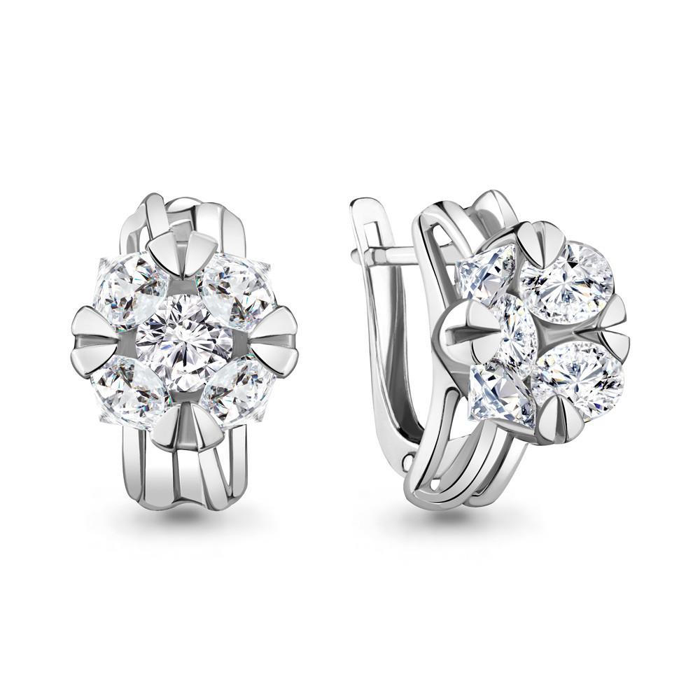 Серебряные серьги-классические с фианитом AQUAMARINE (#711880)