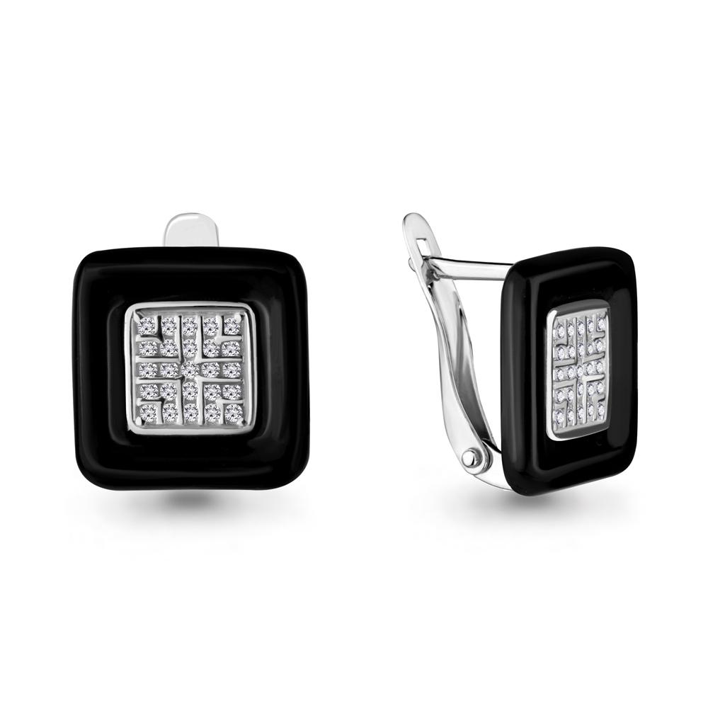 Серебряные серьги-классические с фианитом AQUAMARINE (#687399)
