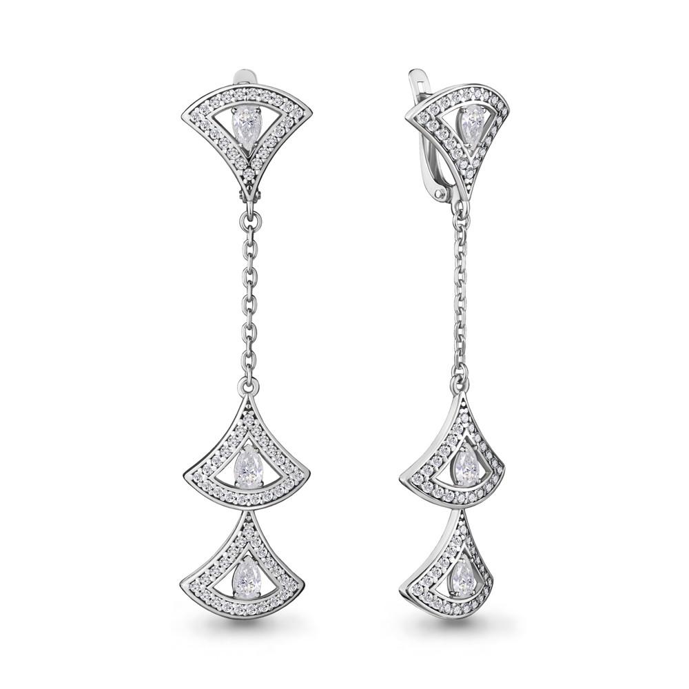 Серебряные Серьги-подвески с фианитом AQUAMARINE (#708542)