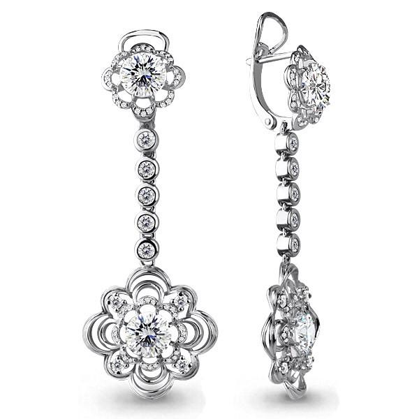Серебряные Серьги-подвески с фианитом AQUAMARINE (#407613)