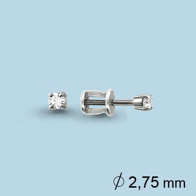 Серебряные серьги-пуссеты с фианитом Swarovski AQUAMARINE (#708688)