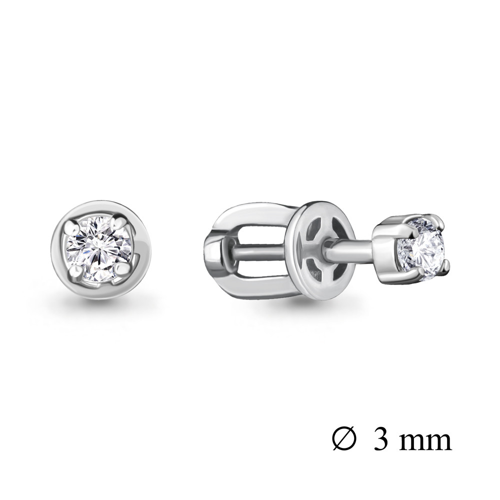 Серебряные серьги-пуссеты с фианитом Swarovski AQUAMARINE (#708689)