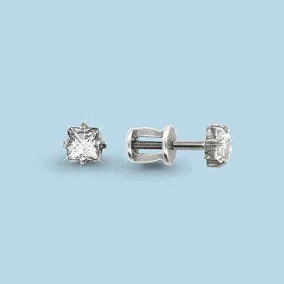 Серебряные серьги-пуссеты с фианитом Swarovski AQUAMARINE (#708606)