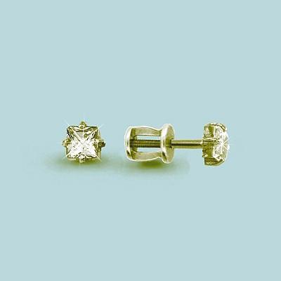 Серебряные серьги-пуссеты с фианитом Swarovski AQUAMARINE (#610899)