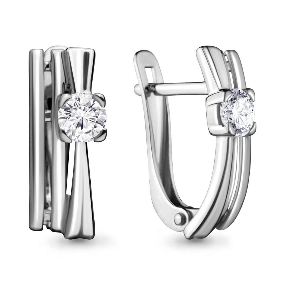 Серебряные серьги-классические с фианитом Swarovski AQUAMARINE (#683160)