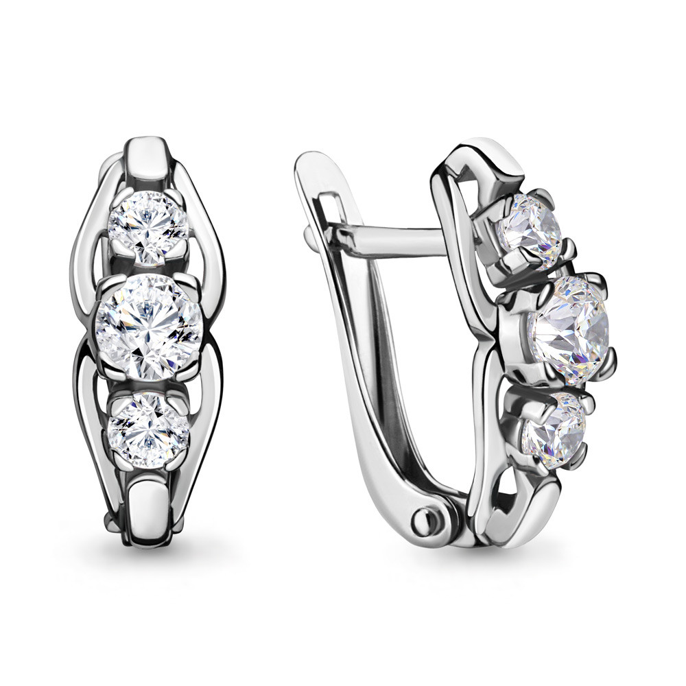 Серебряные серьги-классические с фианитом Swarovski AQUAMARINE (#711530)