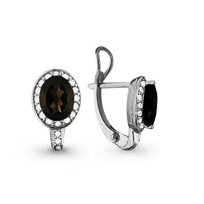 Серебряные серьги-классические с фианитом и AQUAMARINE (#632248)
