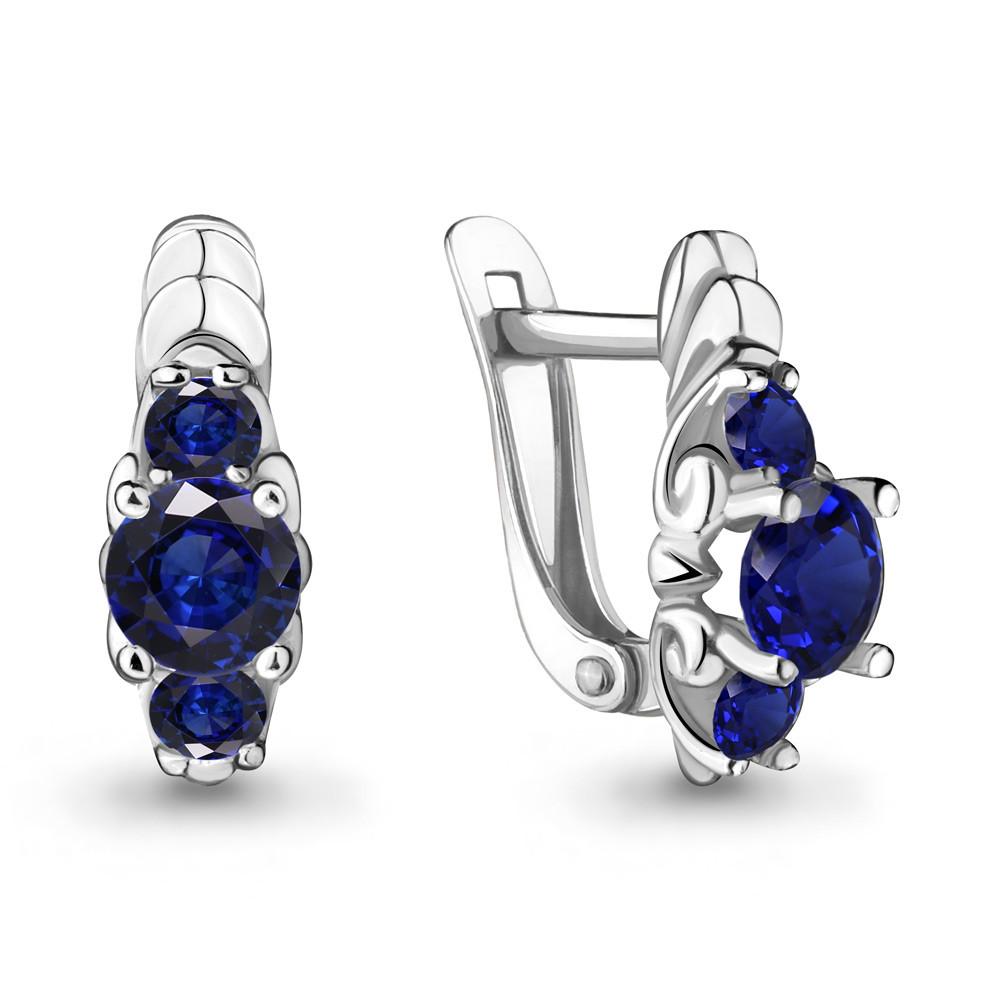 Серебряные серьги-классические с фианитом и наносапфиром синт. AQUAMARINE (#485137)
