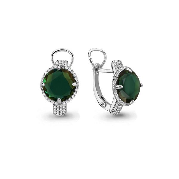 Серебряные серьги-классические с фианитом и турмалином AQUAMARINE (#690054)