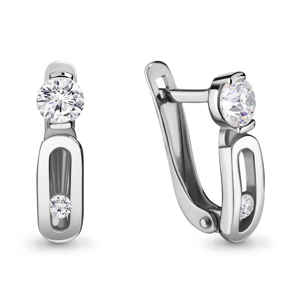 Серебряные серьги-классические с фианитом сваровски AQUAMARINE (#686415)