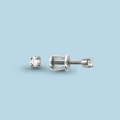 Серебряные серьги-пуссеты с фианитом сваровски и фианитом AQUAMARINE (#407290)