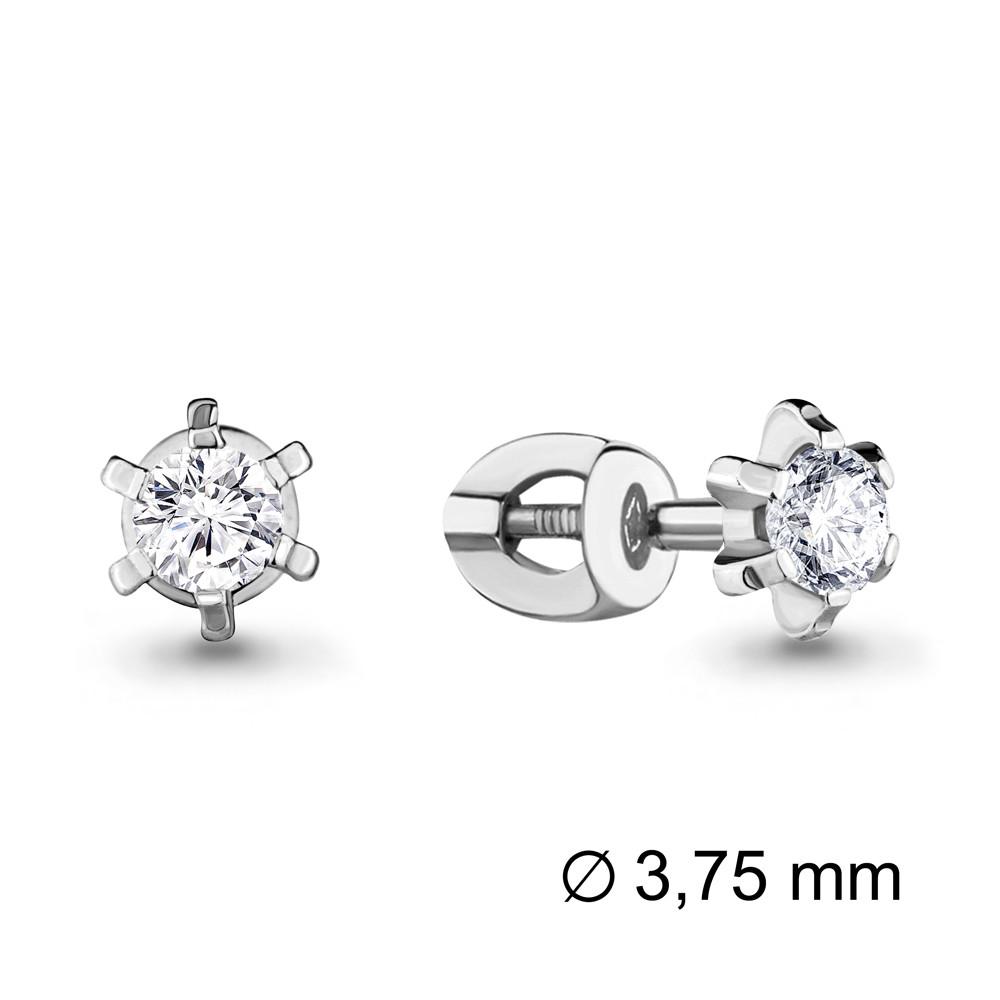 Серебряные серьги-пуссеты с фианитом сваровски и фианитом AQUAMARINE (#407293)