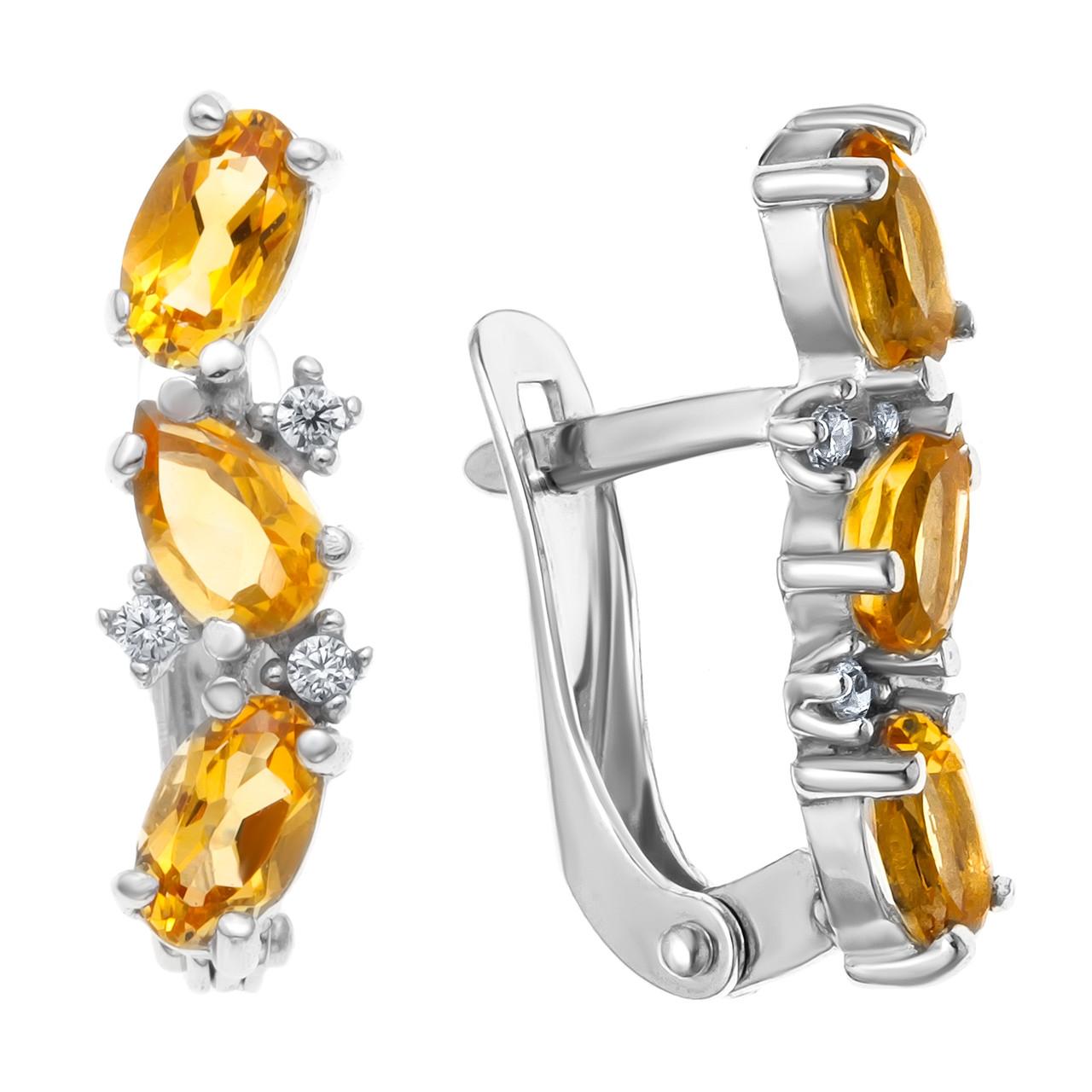 Серебряные серьги-классические с цитрином AQUAMARINE (#708935)