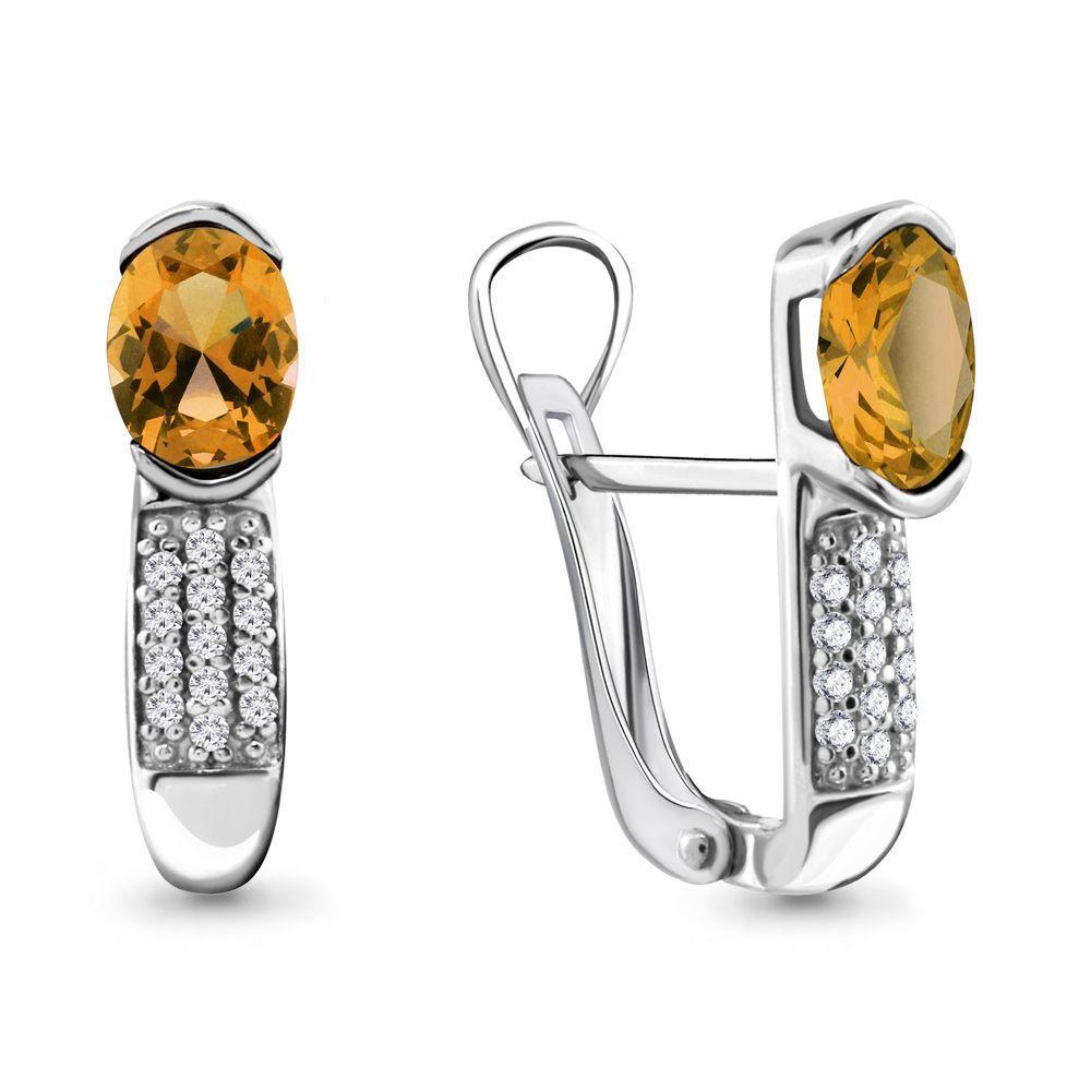 Серебряные серьги-классические с цитрином и фианитом AQUAMARINE (#697813)