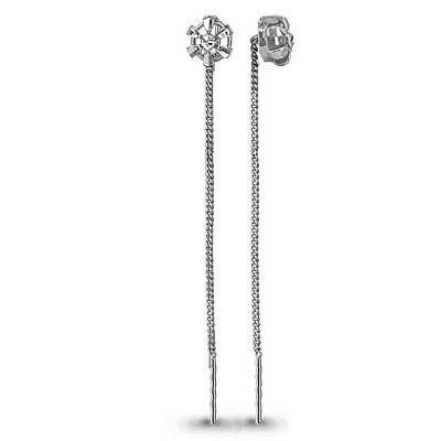Серебряные серьги-протяжки AQUAMARINE (#582396)