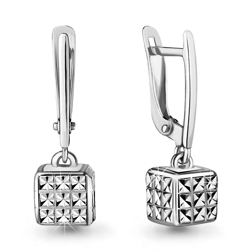 Серебряные Серьги-подвески AQUAMARINE (#706640)